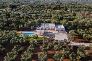Aerial view vacation villa in puglia