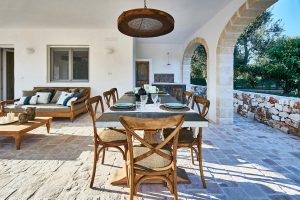 Outdoor dining table vacation villa