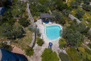 Villa Myrtos aerial close up pool