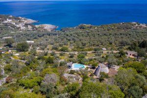 Villa Myrtos aerial pool 2